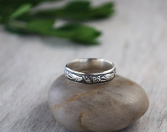 Sterling Silver Band Ring - Patterened Sterling Silver Band - Handforged Silver Ring - Silver Ring - Wedding Band