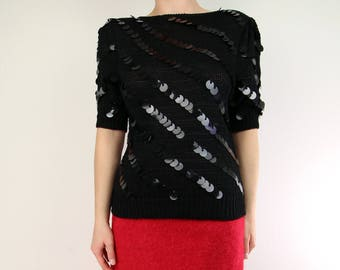 VINTAGE Sequin Sweater Black Knit Top Paillette Sequined 1980s Small
