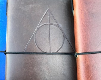 Pocket Size Leather Traveler's Style Journal/Notebook Refillable - Harry Potter Deathly Hallows Style