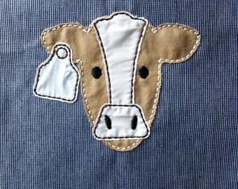 ITH Cow Raggy Applique DIGITAL Embroidery Design