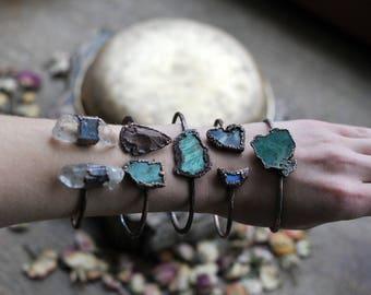 Mothers Day Gift, raw, Druzy agate bracelet, electroformed bracelet, electroformed jewelry, earthy jewelry, bohemian gypsy, druzy amethyst