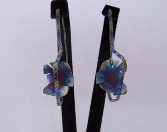 Titanium earrings Square Earrings Drop Earrings Geometric Earrings Industrial jewelry Futuristic Jewelry Titanium Jewelry Rainbow Titanium