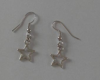 Earrings silver metal stars
