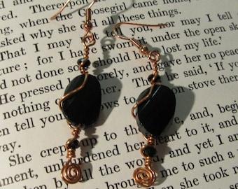 Item 2196 Copper wire wrapped black earrings