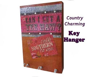 "Country Key Hanger, Southern Girl Charming Rustic Wooden Wall Decor. YeeHaw, Talk Southern To Me. 6""x4"" Wooden Plaque"