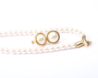 Napier Vintage 1960s Faux Pearl Necklace and Earring Set