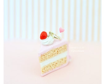 Pink Cake Red Cherry Charm Miniature Food Jewelry Polymer Clay Charm Necklace Handmade Gift Girl