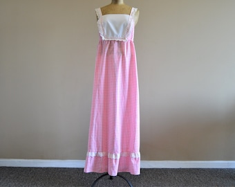 """Pink Summer Maxi Dress,Size XS,33"""" to 35"""" Chest,Vintage 70's Homemade,Checked Gingham ,White Eyelet Lace Yoke Bib,Empire Waist"""