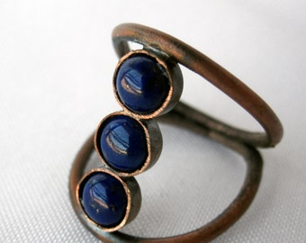 Dual Split Band Copper and Lapis Bohemian Ring - Stacking Blue Crystal Ring - Healing Stone Jewelry
