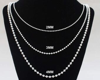 Mens Silver Chain Ball Chain 12 14 16 18 20 22 24 30 36 inch chain 2MM 3MM 4MM Solid Sterling Silver Womens Chain Bead Chain Dog Tag Chain
