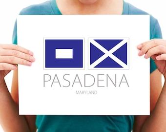 Pasadena - Maryland - Nautical Flag Art Print