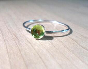 Peridot Ring, Sterling Silver Peridot Ring, Peridot Stacking ring, August Ring, silver stacking ring, August Birthstone ring