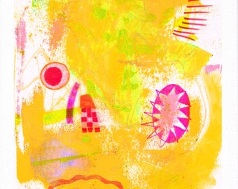 light!: original painting, mixed media, on paper on canvas (30x24 cm)