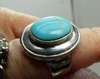 Barse Sterling Silver Sleeping Beauty Turquoise Ring ADJUSTABLE sZ 5-9 -6.4 grms- Stone 12x9MM, Head 20 x 15MM SM 1893