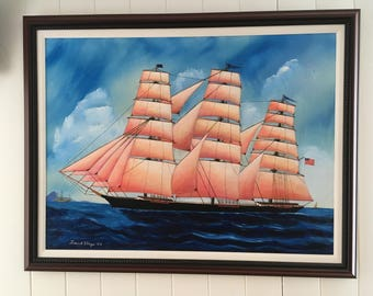 """Ship painting, clipper sailing ship, original oil vintage ship in maritime/seascape, Giclee Print.""""Limited Edition print, See details below."""