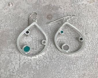 Little teardrop silver earrings - beige green enamel jewel - author silver jewelry - gift for 20 birthday