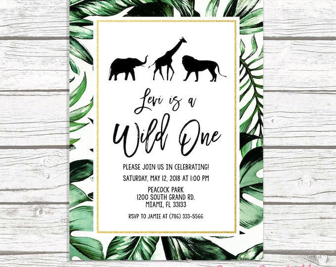 Wild One Birthday Invitation, Safari Birthday Invitation, First 1st Birthday Invite, Leaf Safari Invitation, Wild One Invitation, Printable