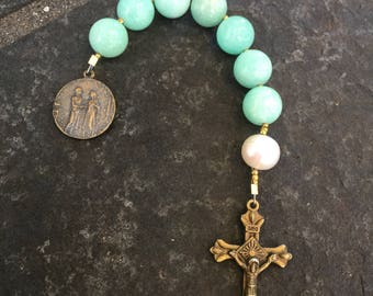 Anglican Chaplet    Amazonite and Baroque Pearl  Chaplet   Episcopal Prayer Beads  Marriage Chaplet