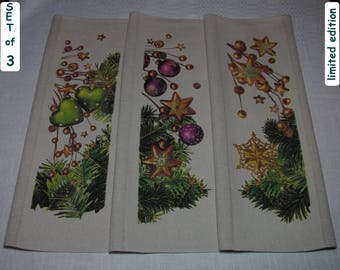 Christmas Kitchen Towels Set #3 Christmas Tea Towel Set Cotton Linen Christmas Kitchen Set Christmas Kitchen Set