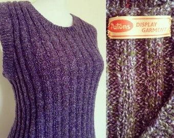 Vintage 60s/70s handknitted purple vest/ Patons display garment/chunky knit