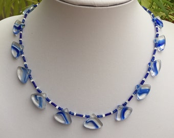 Hand Crafted Blue Beaded Necklace.