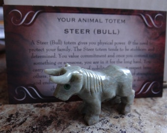 Hand Carved *STEER* Animal Spirit Totem Taurus for Spiritual Jewelry or Crafts