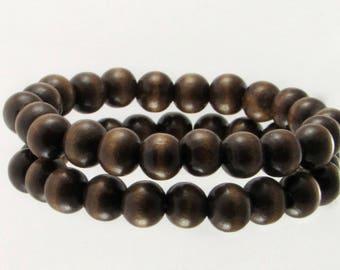 Wooden Bead Bracelet, 10mm Dark Wood Bead Bracelet, Wood Bracelet, Hand Strung Wood Bead Stretch Bracelet, Mens & Womens Wood Bead Bracelet