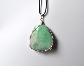 Variscite Necklace, Variscite Jewelry, Wire Wrapped Variscite, Mint Stone, Utah Variscite, Long Cord Necklace, Spring Accessories, Geology