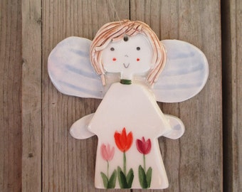 Angel,Ready to ship Angel,Baptism Gift,Girly Angel,Angel with Flowers,Gift for Mom,Brown hair,Girly Angel,Godmothers Gift,First Communion