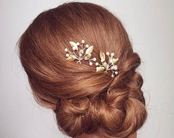 Wedding Hair Piece, Gold Leaf Hair Pin, Bridal Hair Comb, Leaf Hairpiece, Bridal Headpiece, Gold Hair Vine, Wedding Clips, Wedding Hair