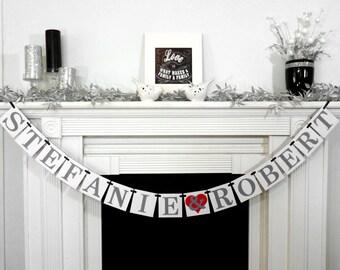Engagement Shower, Wedding Garland, Custom Names Banner, Wedding Banner, Couples Shower, Photo Prop, Engagement Party, Wedding Decoration