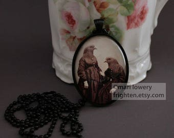 Unusual Jewelry, Pendant Necklace, Pigeon Sisters, Oddities, Twin Sisters, Anthropomorphic, Strange Jewelry, frighten