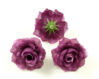 Set of 10 artificial flowers without stem diameter. 40mm - plum