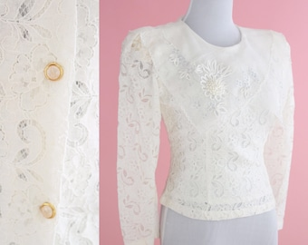 Vintage 80s 90s White Blouse // Cottage Chic, Daisy Kingdom style, Cream Lace Top, Women size Medium