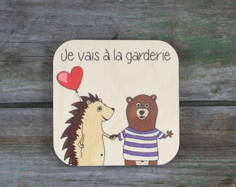 """Symbol """"I go to daycare"""", wooden - Daily Routine - 3 to 5 years"""