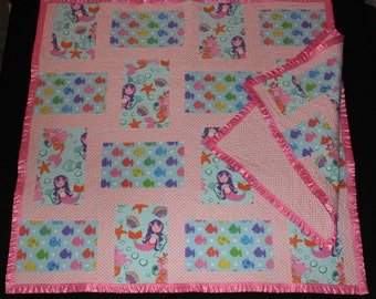 Mermaids and Fish, Baby Quilt and Tag-along, Baby Blanket and Tag-along, Patchwork quilt, Pink