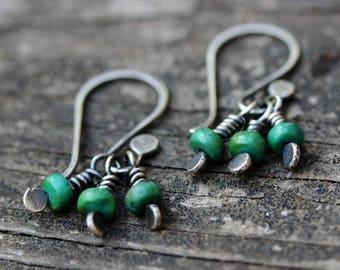 Green turquoise earrings / sterling silver dangle earrings / turquoise drop earrings / gift for her / jewelry sale / boho earrings