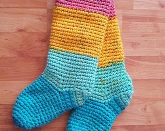 Knee high socks, boot socks, rainbow, winter socks, gift for her, socks, slouchy, knee socks, slipper socks, slipper boots, womens socks,