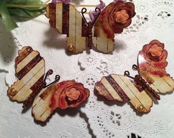 Musical Roses on Piano Keys Copper Beaded Body 3D Peach Rose Butterflies DarlingArtByValeri Scrapbooking Embellishment Mini Albums Cards