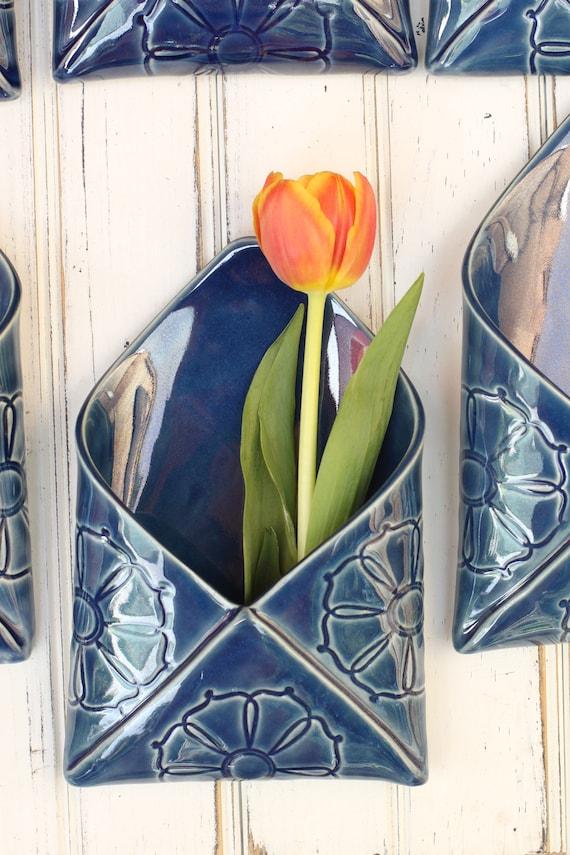 SECONDS SALE porcelain envelope wall vase in dark blue
