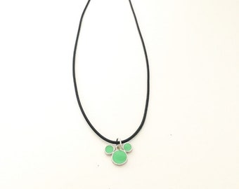 Mint Green Mickey Silhouette Necklace
