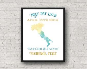 Personalized Wedding Date Poster - Married in Italy Watercolor - 1st Anniversary Gift - First Christmas Married Newlywed Present - 11 x 14
