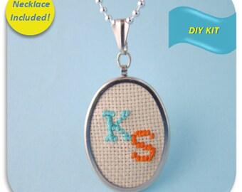 Embroidery Monogram Design Necklace Kit, Cross Stitch Kit, Monogram Pattern, Personalized Cross Stitch Kit, Embroidery DIY Kit