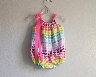 Baby Girls Bubble Romper -  Colorful Hearts on White - Infant Sun Suit - Romper in a Rainbow of Colors - Size Nb, 3m, 6m, 9m, 12m or 18m