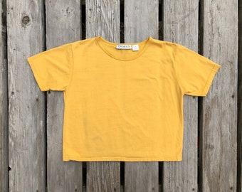 Vtg Cropped Yellow Tee Shirt