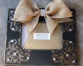 5x7 Black frame with shimmer corner designs and jeweled burlap bow.