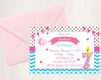 7 year old invite etsy 7th birthday 7th invitation birthday invitation printable invitation 7th invite 7 year old invite 7th birthday party girls stopboris Gallery
