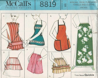 McCalls 8819 1960s Misses APRON Pattern Using TOWELS  Full and Half Cobbler Tabard Cover Up Easy Womens Vintage Sewing Pattern One Size
