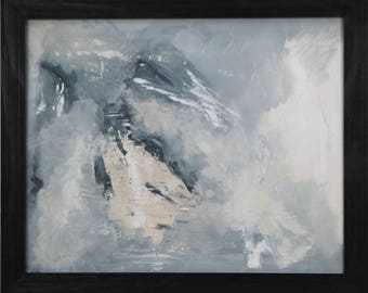 Framed. Beige, White, Gray, blue, green come together in this soft neutral landscape. 16x20. Frame included.