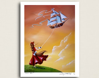 Full Sail - a girl and her flying ship - Limited Edition Signed 8x10 Semi Gloss Print (4/10)